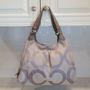 Coach Maggie Madison Pewter OpArt Hobo Bag